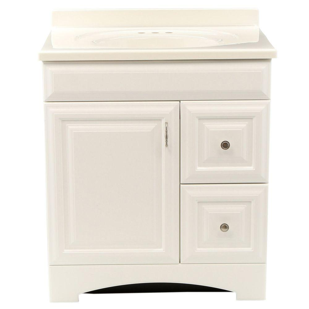St. Paul Providence 30 in. Vanity in White with 31 in. Cultured Marble Vanity Top in White