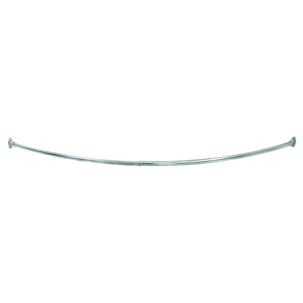 55 in. - 63 in. Steel Curved Shower Rod in Polished