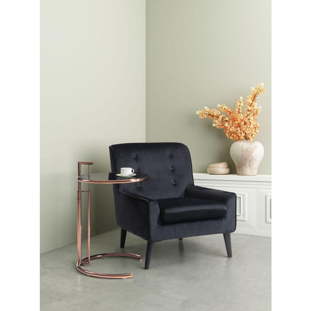 ZUO Coney Velvet Arm Chair in Black-100224 - The Home Depot