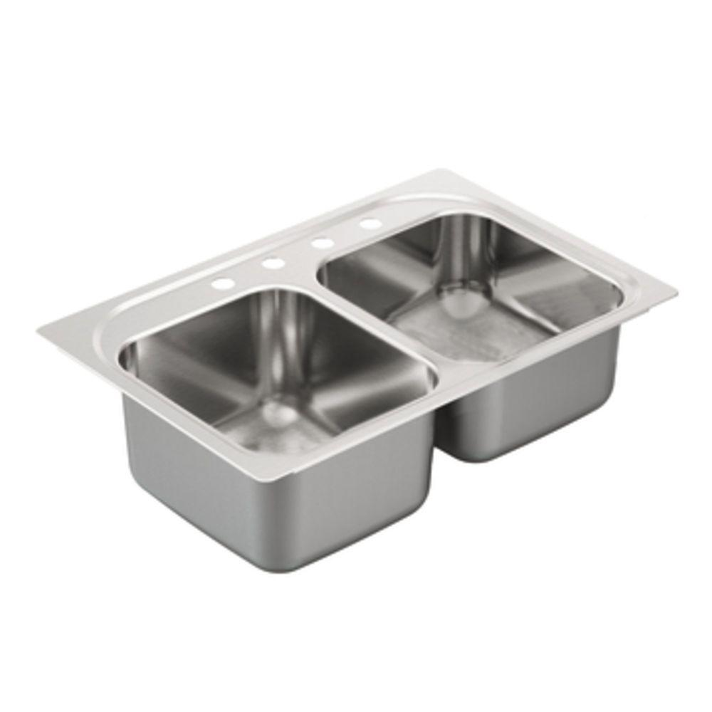 MOEN 2000 Series Drop-In Stainless Steel 33 in. 4-Hole Double Bowl Kitchen Sink