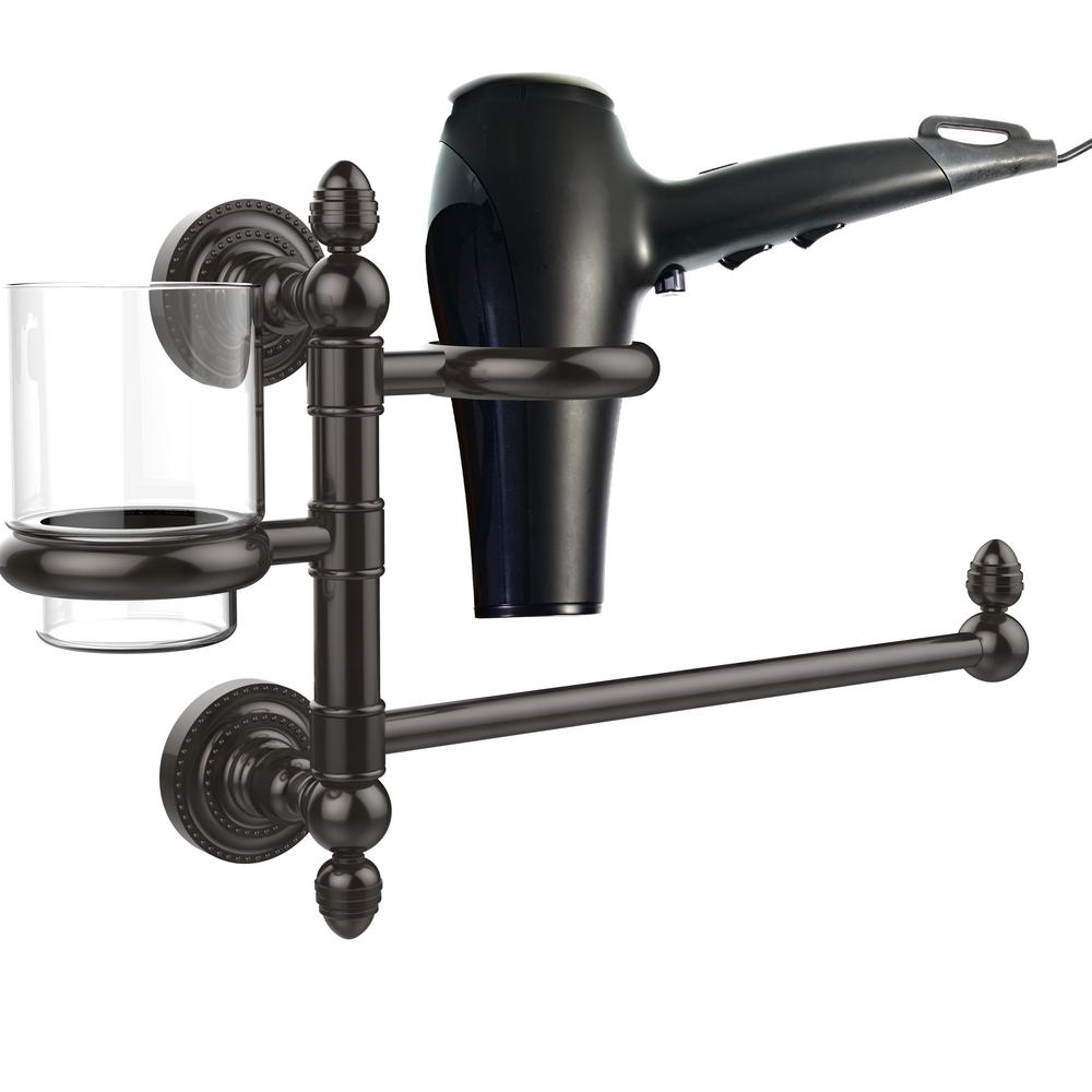 Dottingham Collection Hair Dryer Holder and Organizer in Oil Rubbed Bronze