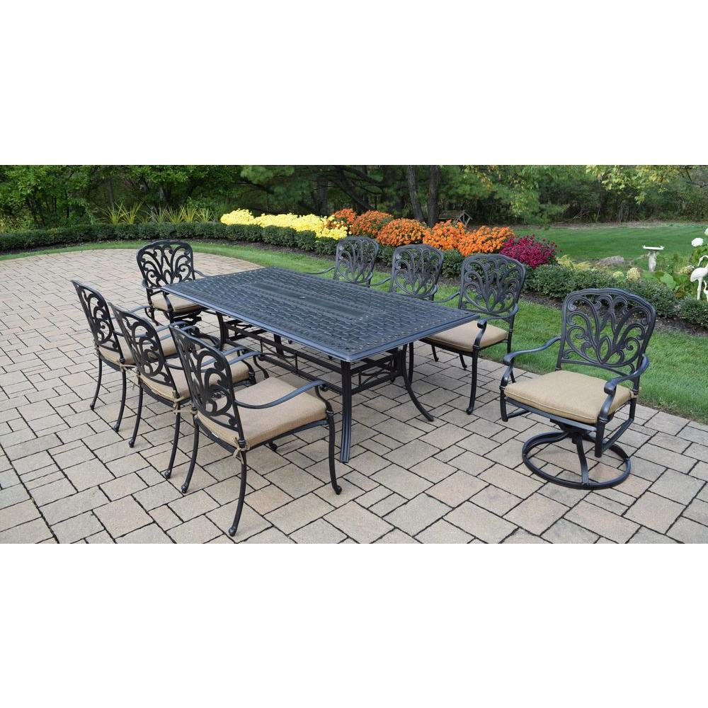 Cast Aluminum 9-Piece Rectangular Patio Dining Set with SpunPoly Beige Cushions