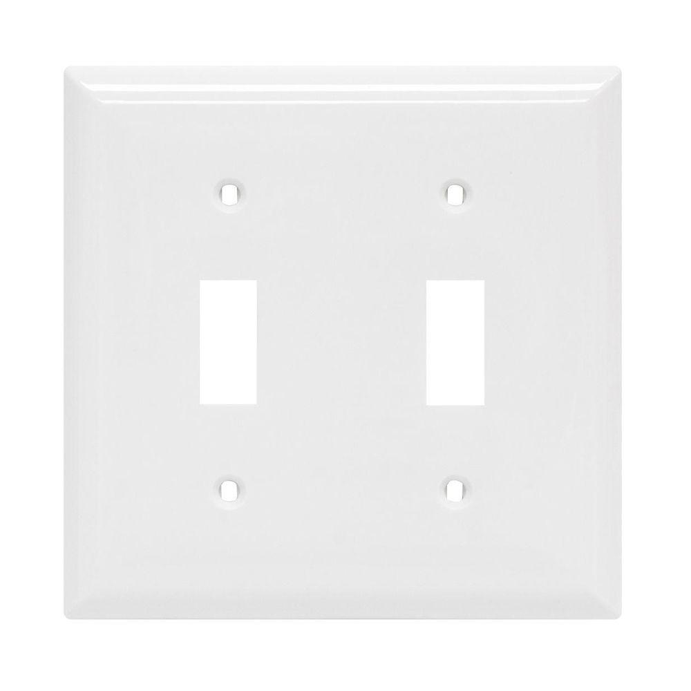 GE 2 Toggle Switch Wall Plate - White