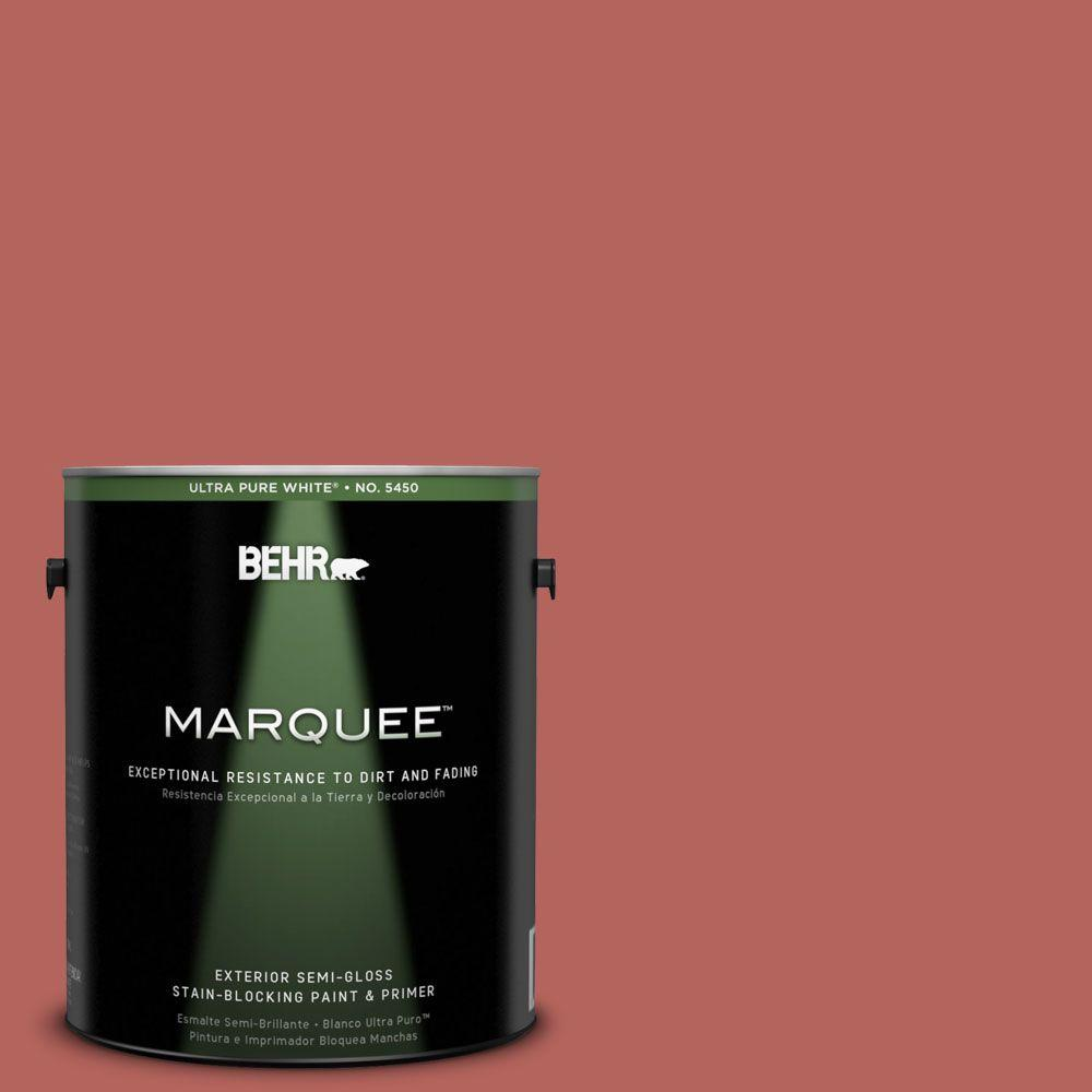BEHR MARQUEE 1-gal. #180D-6 Mineral Red Semi-Gloss Enamel Exterior Paint-545301
