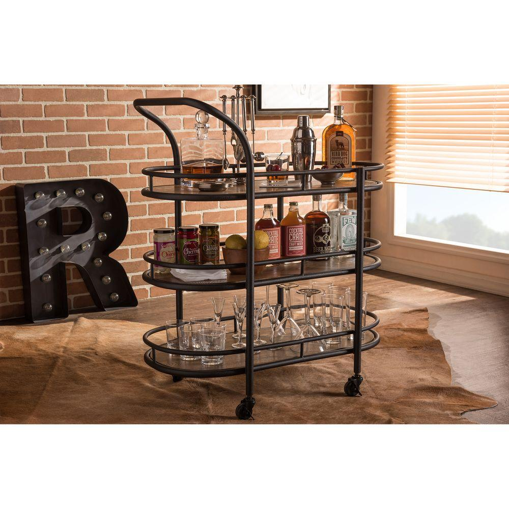 Baxton Studio Karlin Industrial Style 3 Shelf Metal Distressed Wood 4 Wheeled Mobile Kitchen
