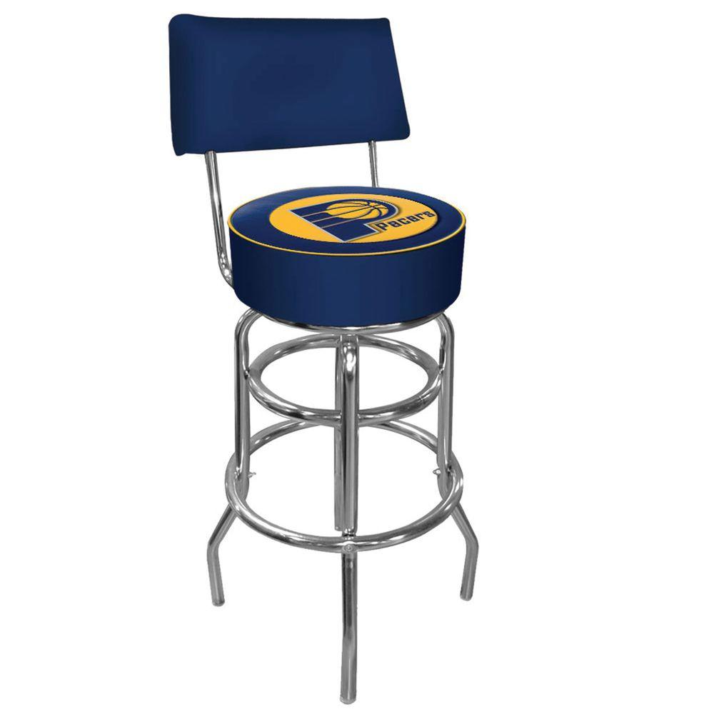 Trademark Indiana Pacers NBA Padded Swivel Bar Stool in Back