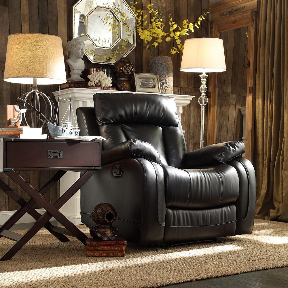 Dorland Bonded Leather 1-Piece Recliner in Black
