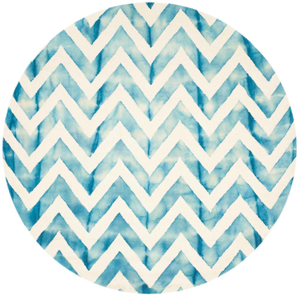 Dip Dye Ivory/Turquoise 7 ft. x 7 ft. Round Area Rug