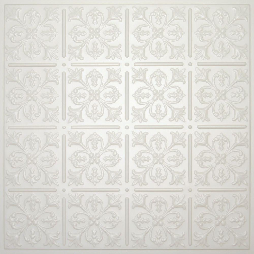 Ceilume Fleur-de-lis Sand 2 ft. x 2 ft. Lay-in or Glue-up Ceiling Panel (Case of 6)