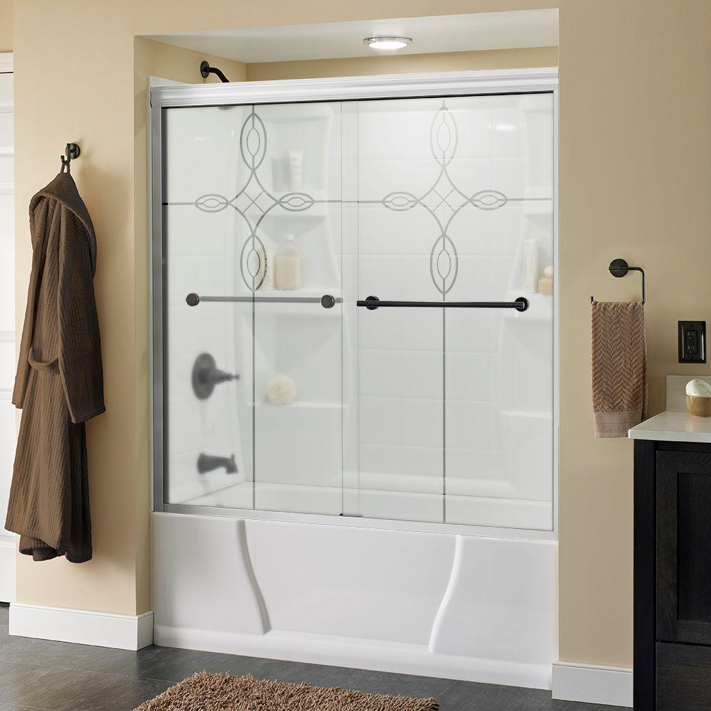 Delta Lyndall 60 in. x 58-1/8 in. Semi-Frameless Sliding Bathtub Door in White with Bronze Handle and Tranquility Glass