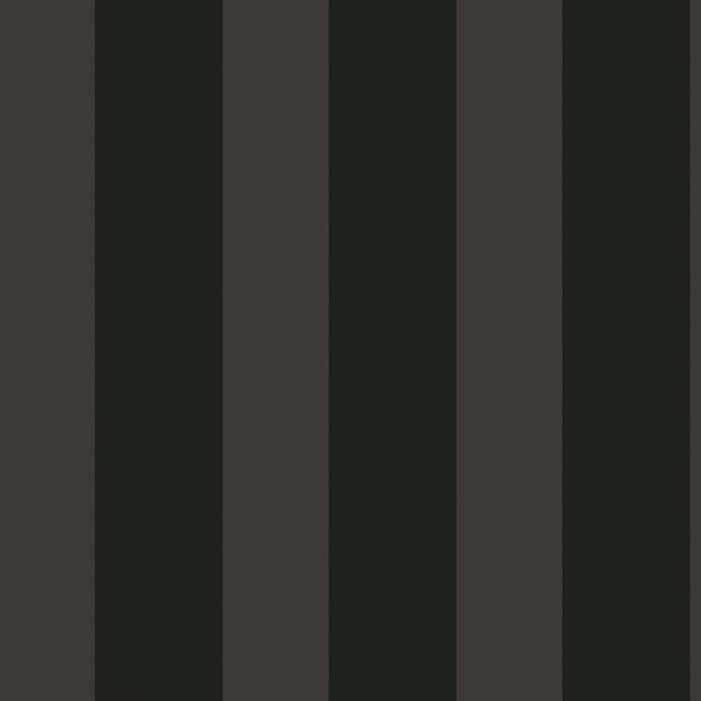 The Wallpaper Company 8 in. x 10 in. Black Large Scale Stripe Wallpaper Sample