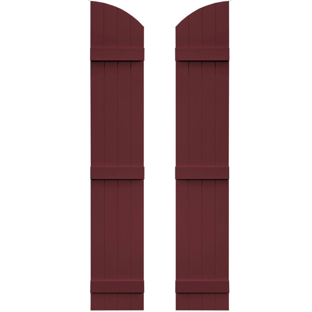 Builders Edge 14 in. x 77 in. Board-N-Batten Shutters Pair, 4 Boards Joined with Arch Top #078 Wineberry, 078 Wineberry