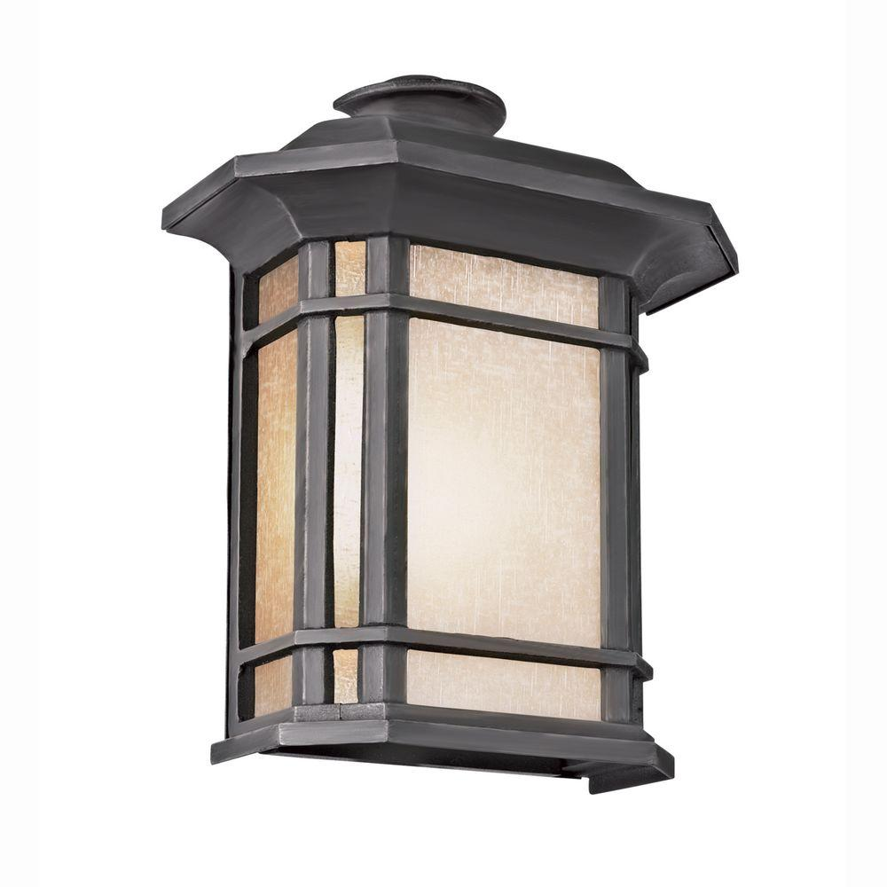Bel Air Lighting Energy Saving 1-Light Outdoor Black Patio Wall Lantern with Tea Stained Linen Shade