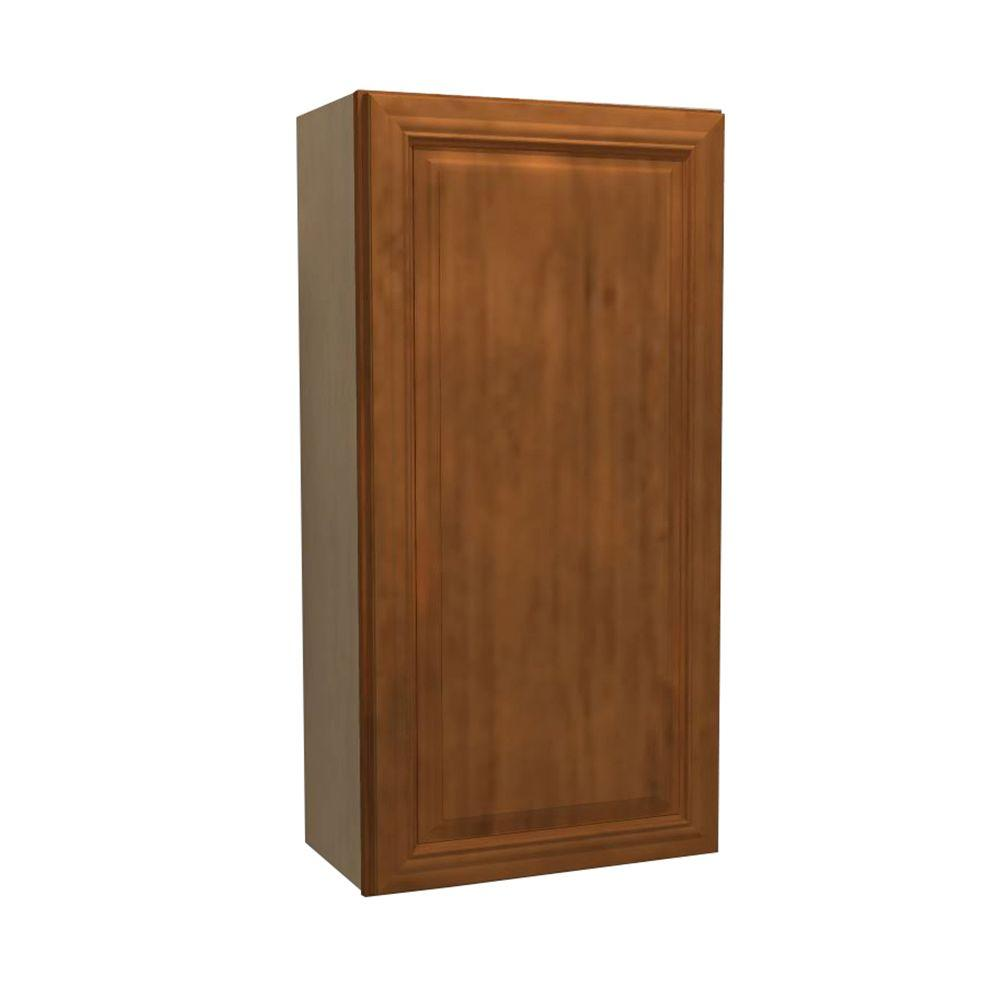 Home Decorators Collection Clevedon Assembled 18x36x12 in. Single Door Hinge Right Wall Kitchen Cabinet in Toffee Glaze