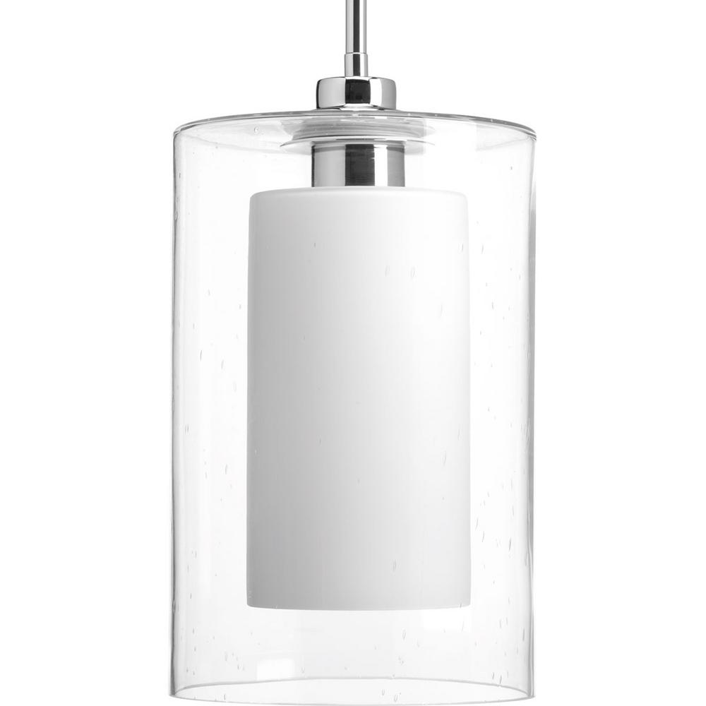 Double Glass Collection 1-light Polished Chrome Pendant