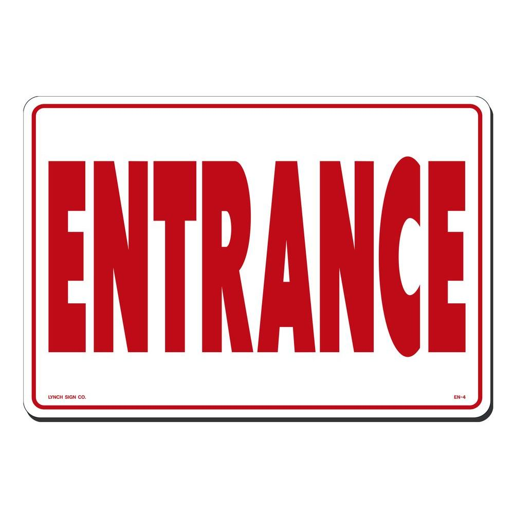 Lynch Sign 14 in. x 10 in. Red on White Plastic Entrance Sign