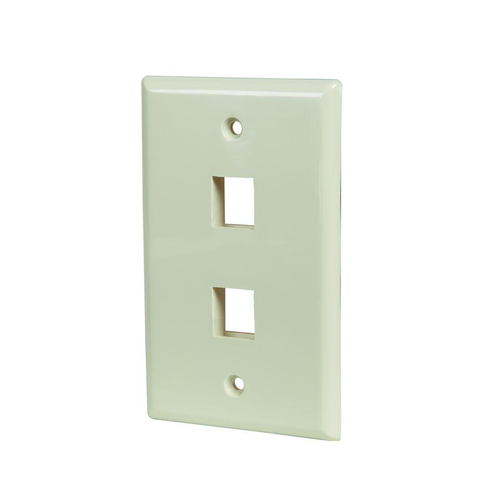 2-Port Wall Plate - Light Almond