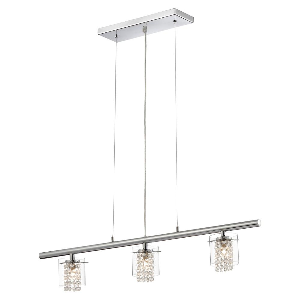 Glam-Topaz Collection 3-Light Chrome Hanging Pendant