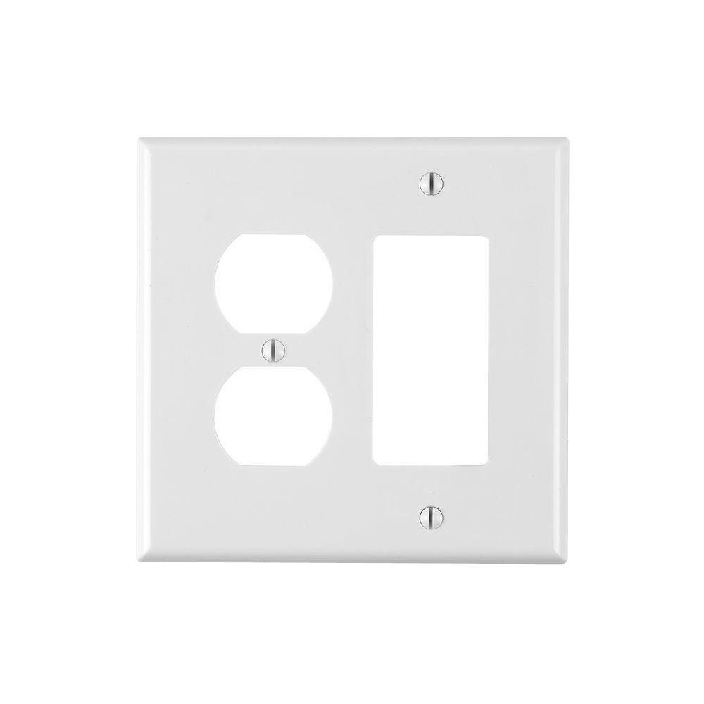 Leviton Decora 2-Gang Midway 1-Duplex Outlet Combination Nylon Wall Plate, White