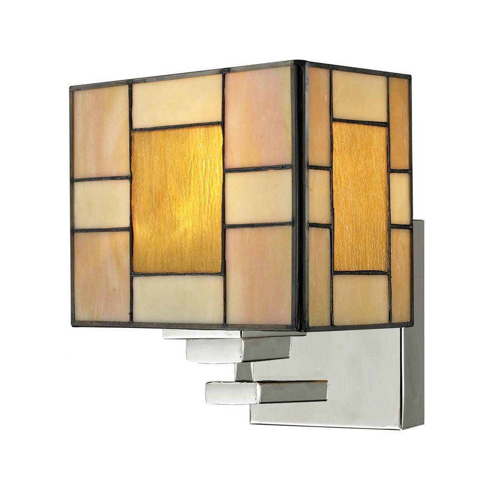 Trovita 1-Light White Sconce with Art Glass Shade