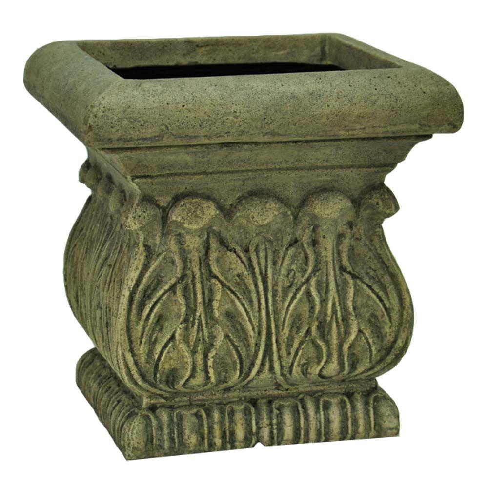 MPG 11 in. Cast Stone Square Acanthus Planter in Special Aged Granite Finish