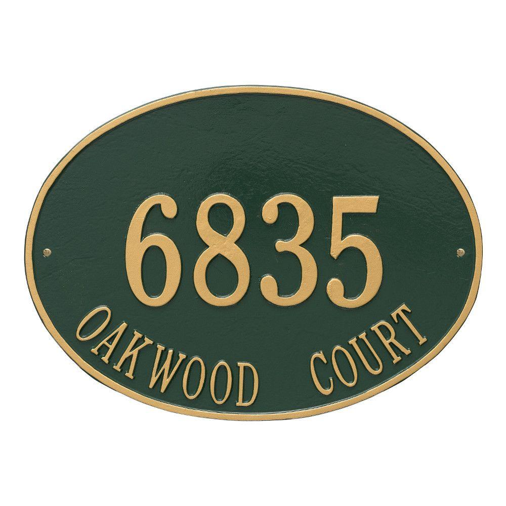 Hawthorne Estate Oval Green/Gold Wall 2-Line Address Plaque