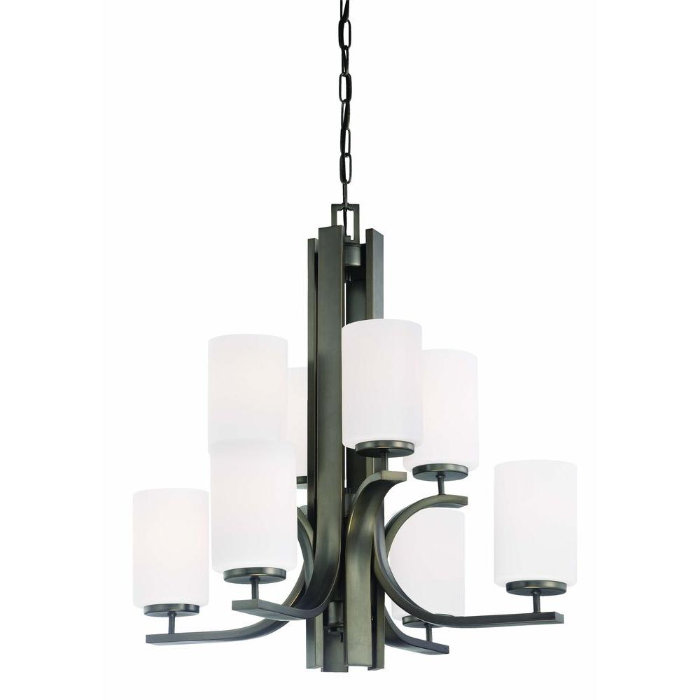 Pendenza 8-Light Oiled Bronze Chandelier