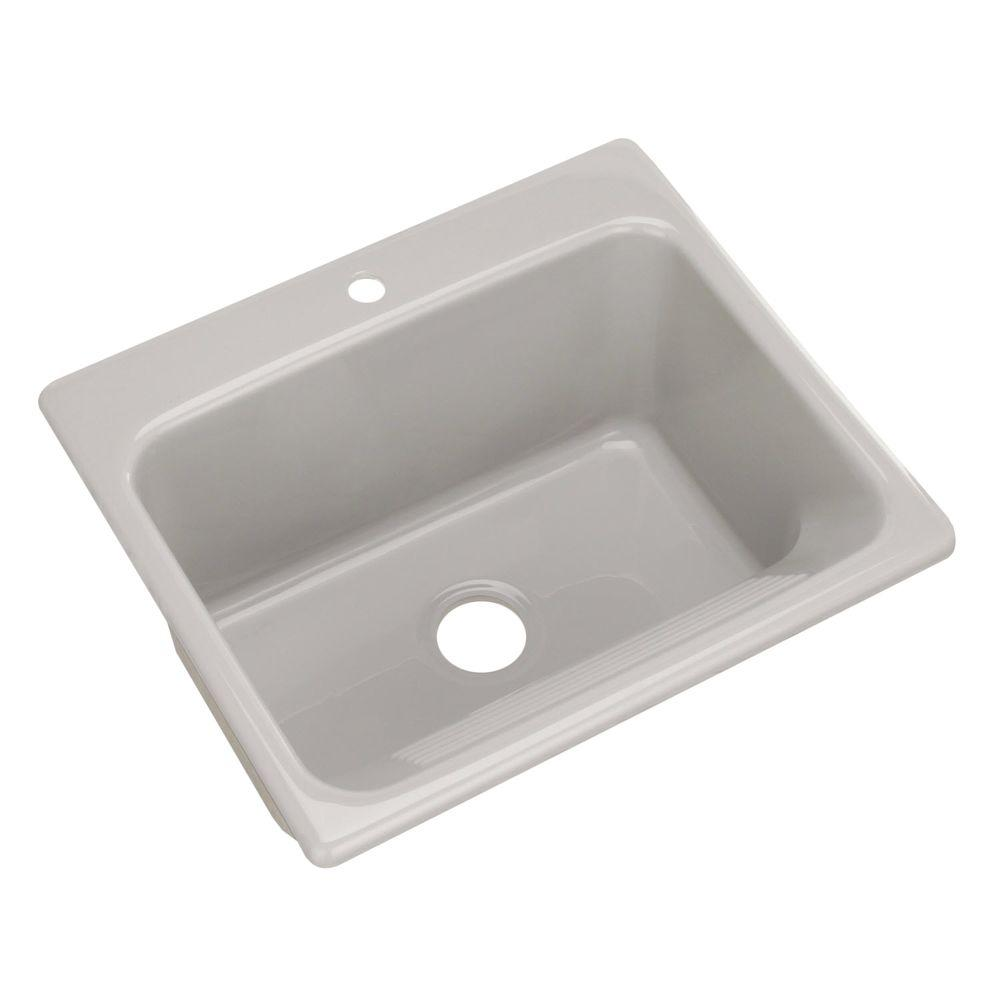 Thermocast Kensington Drop-In Acrylic 25 in. 1-Hole Single Bowl Utility Sink in Ice Grey