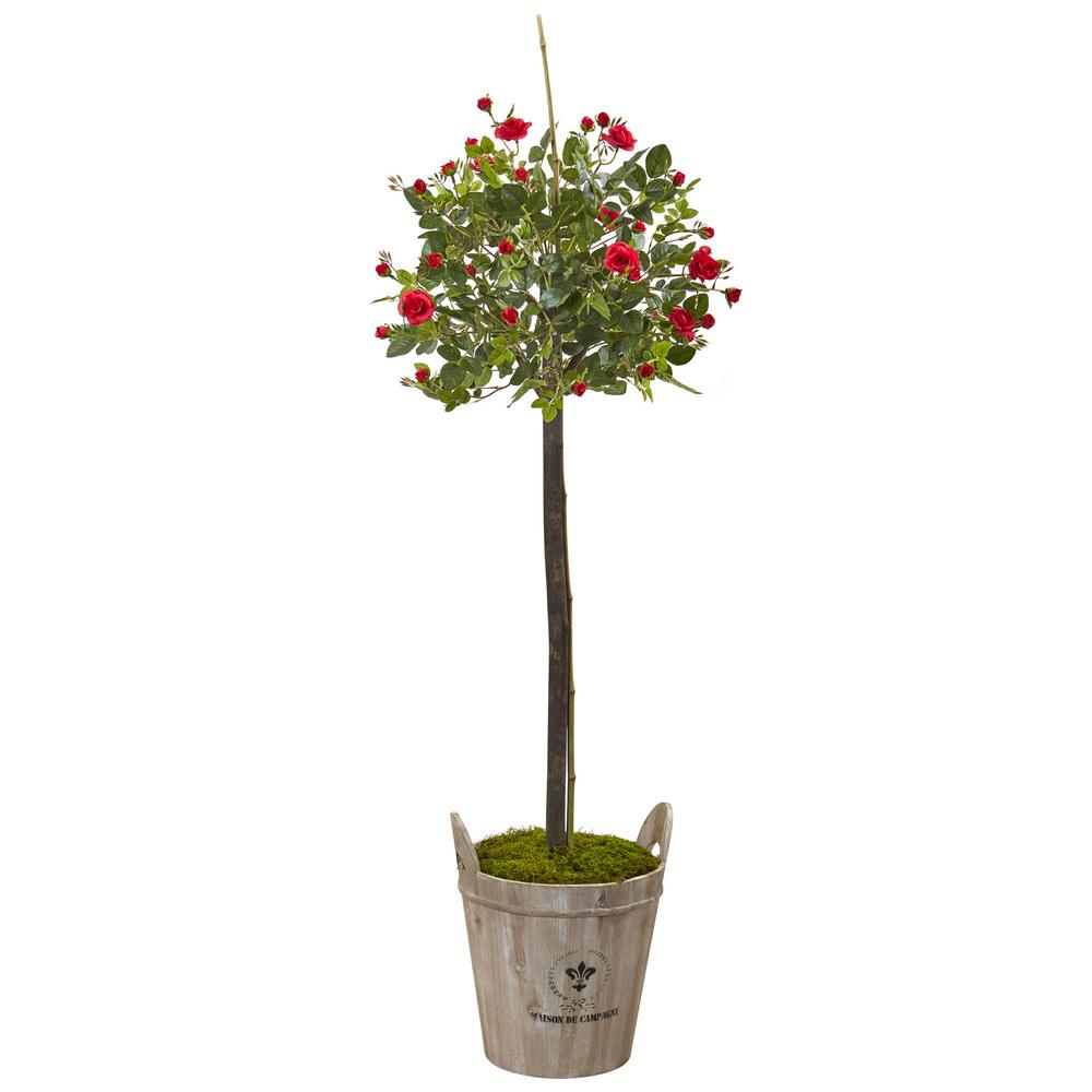 Nearly Natural 4.5 ft. Rose Topiary with Farmhouse Planter-5964 - The