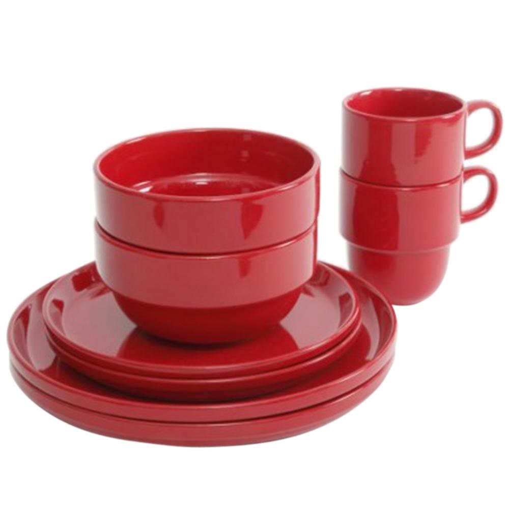 Gibson Home Stackware 8 Piece Red Dinnerware Set 98598615m