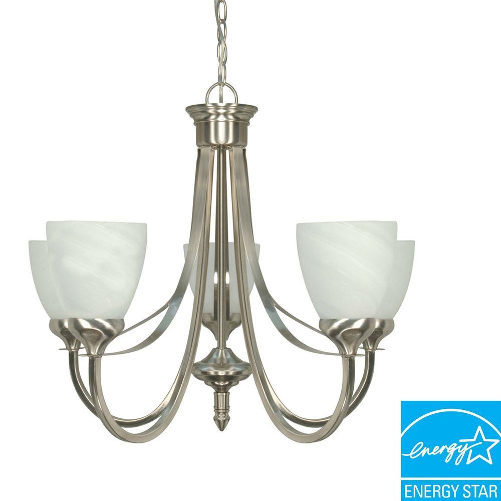 Green Matters 5-Light Brushed Nickel Hanging Chandelier-HD-460 - The Home Depot