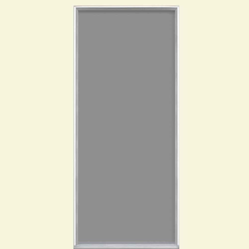 Masonite 32 in. x 80 in. Flush Silver Clouds Painted Steel Prehung Front Door No Brickmold in Vinyl Frame