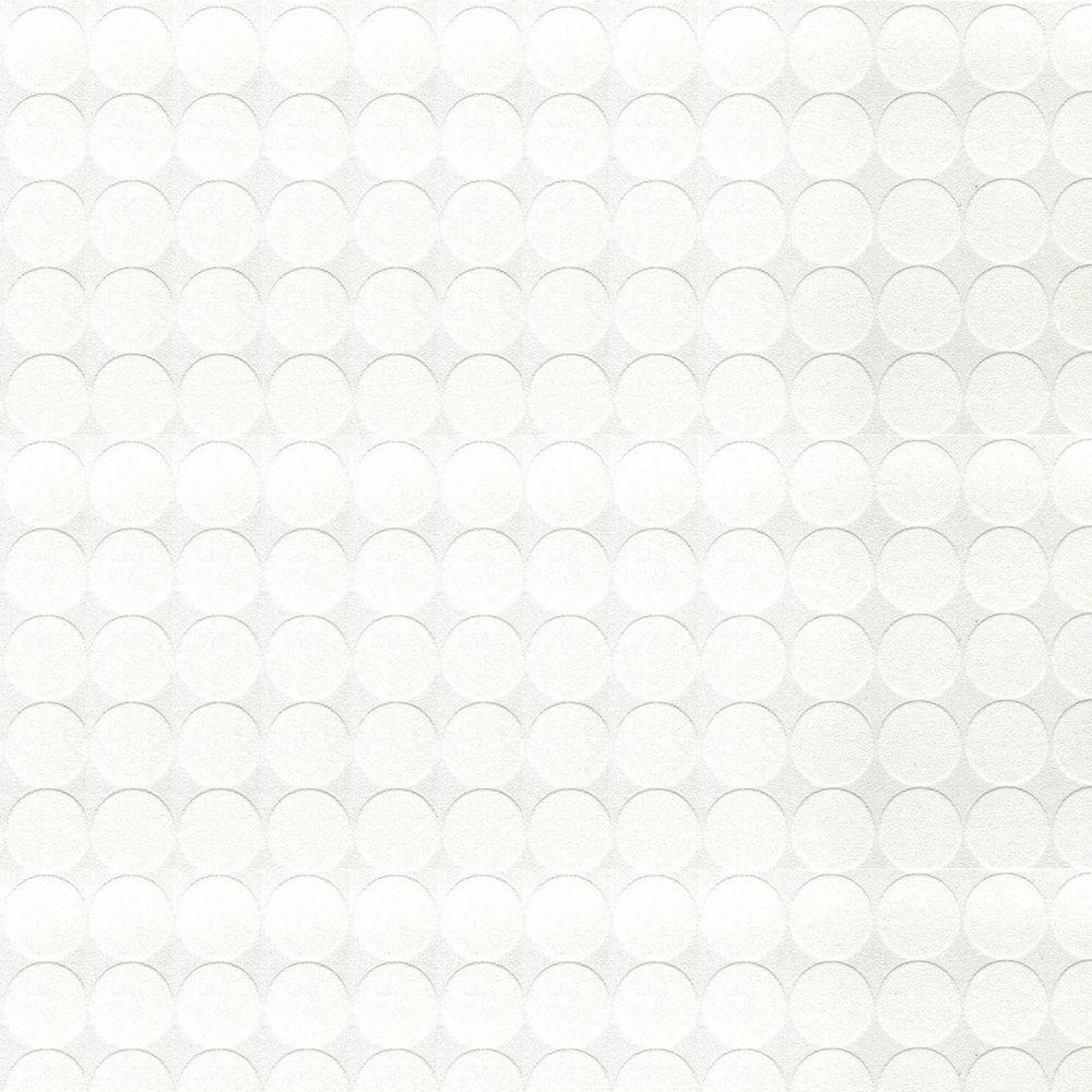 Graham & Brown 56 sq. ft. Circles Paintable White Wallpaper-DISCONTINUED