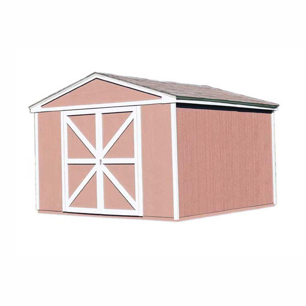 Handy home products somerset 10 ft x 12 ft wood storage for Storage shed kits