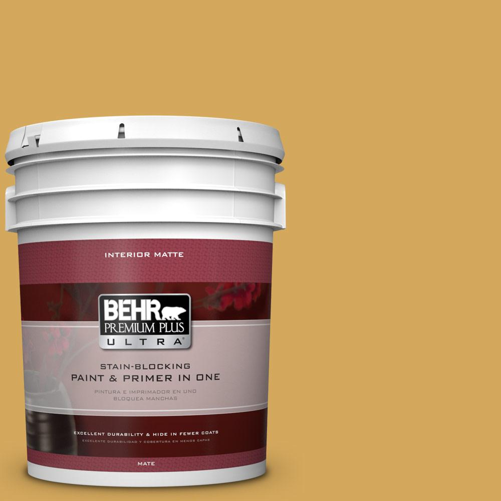 BEHR Premium Plus Ultra 5 gal. #340D-5 Galley Gold Flat/Matte Interior Paint