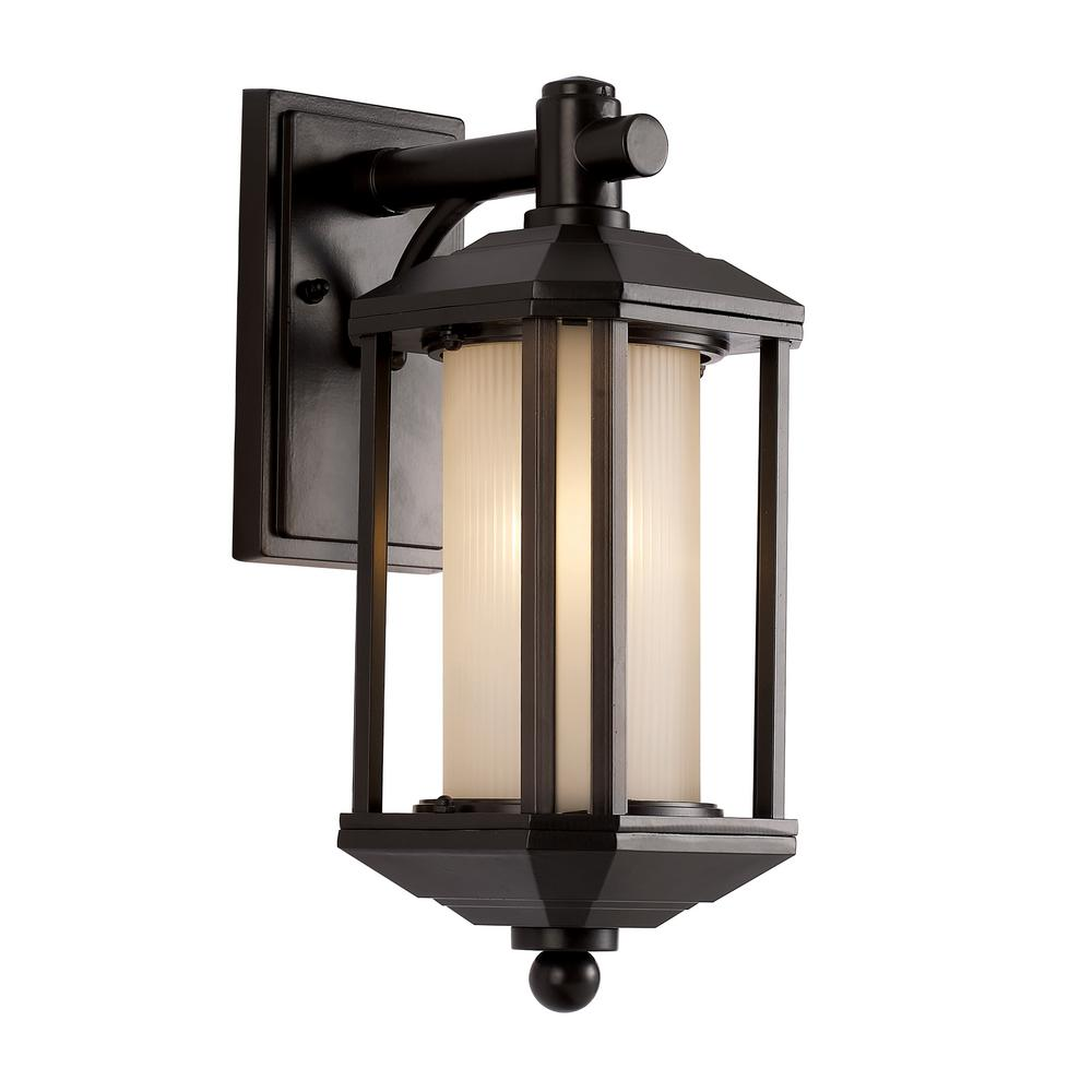 1-Light Outdoor Rubbed Oil Bronze Wall Lantern with Ribbed Glass