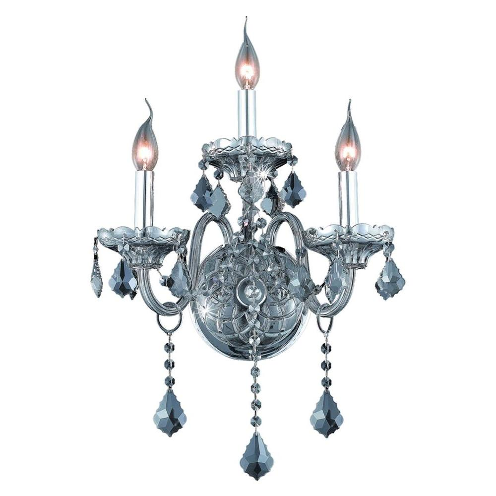 3-Light Silver Shade Sconce with Silver Shade Grey Crystal