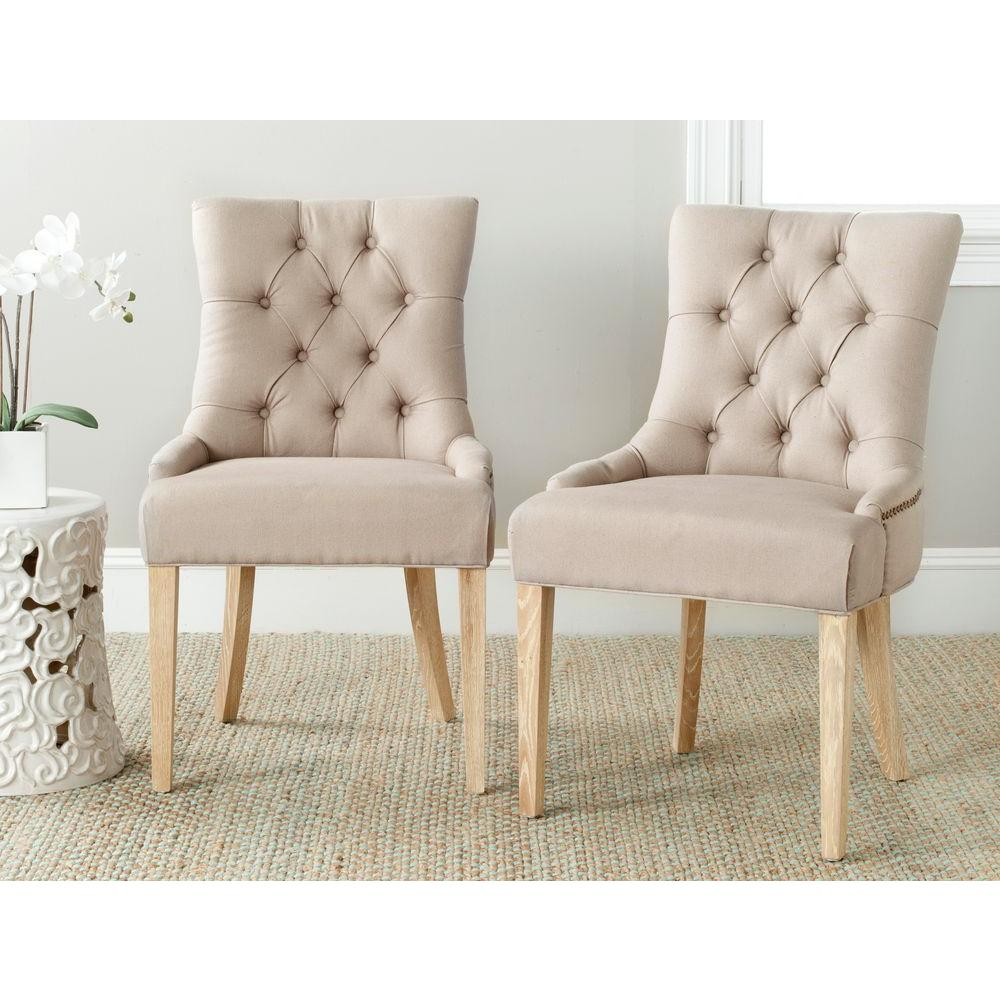 Abby Taupe Linen Side Chair (Set of 2)
