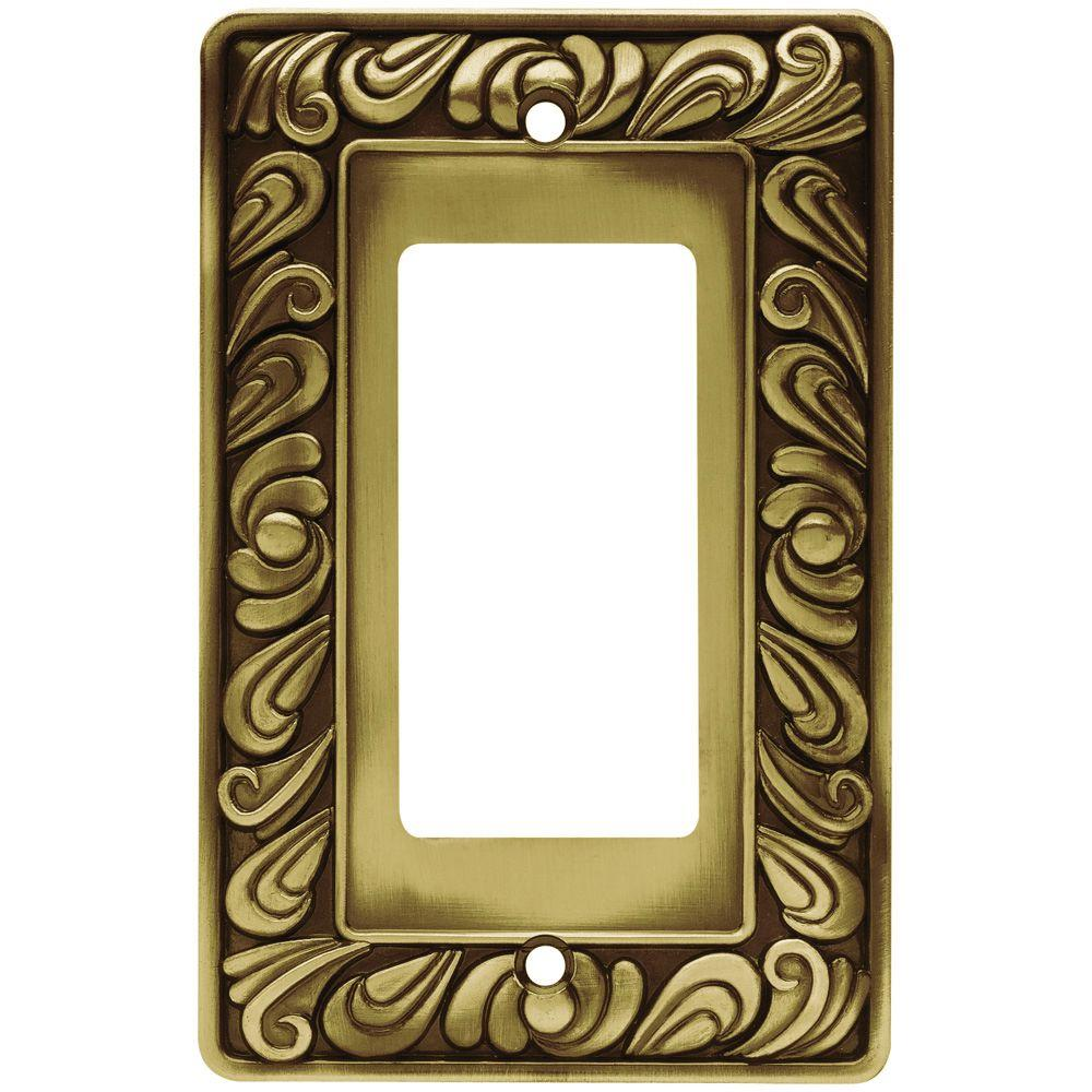 Paisley 1 Rocker Wall Plate - Tumbled Antique Brass