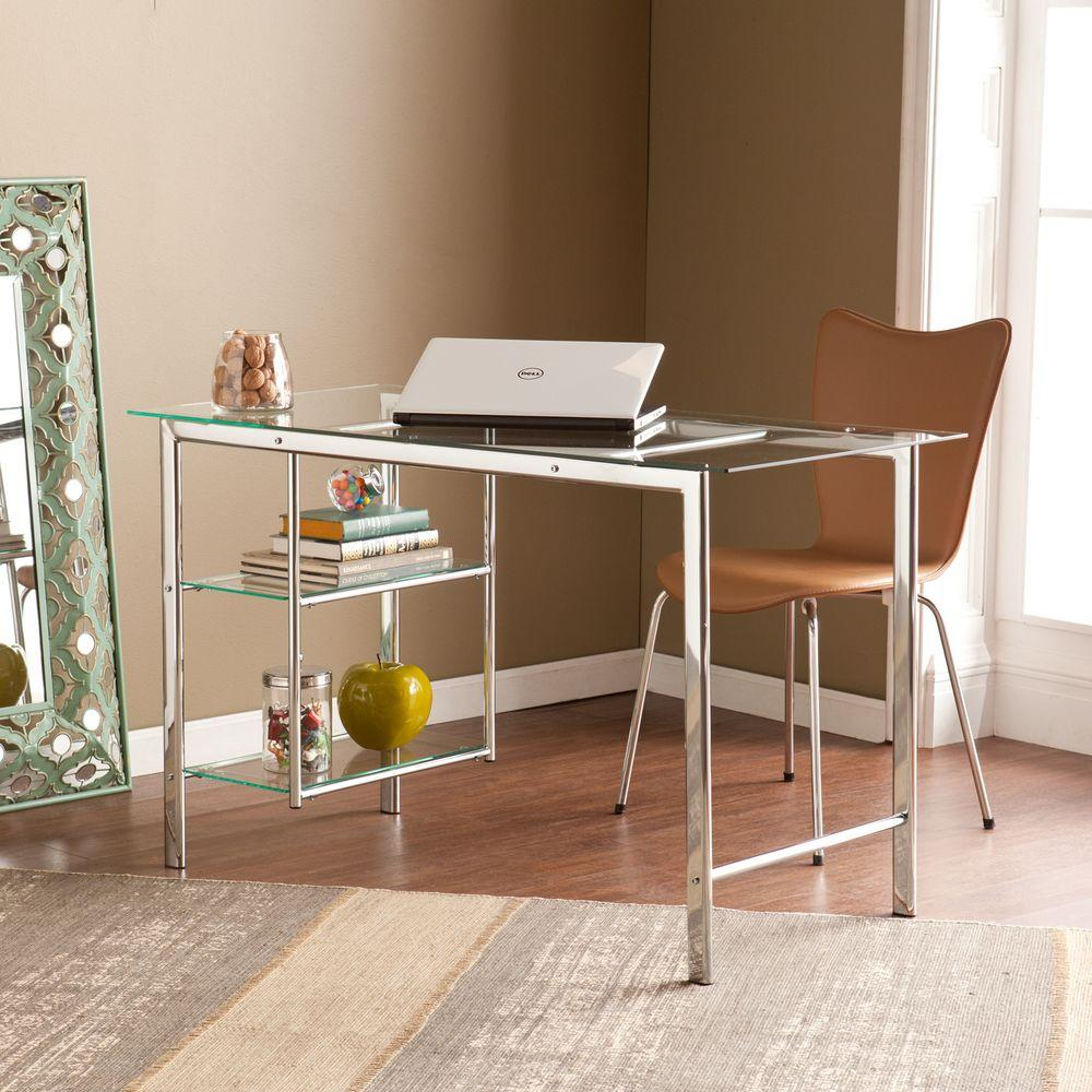 Southern Enterprises Emil Metal and Glass Home Office Desk in Chrome-HD888569