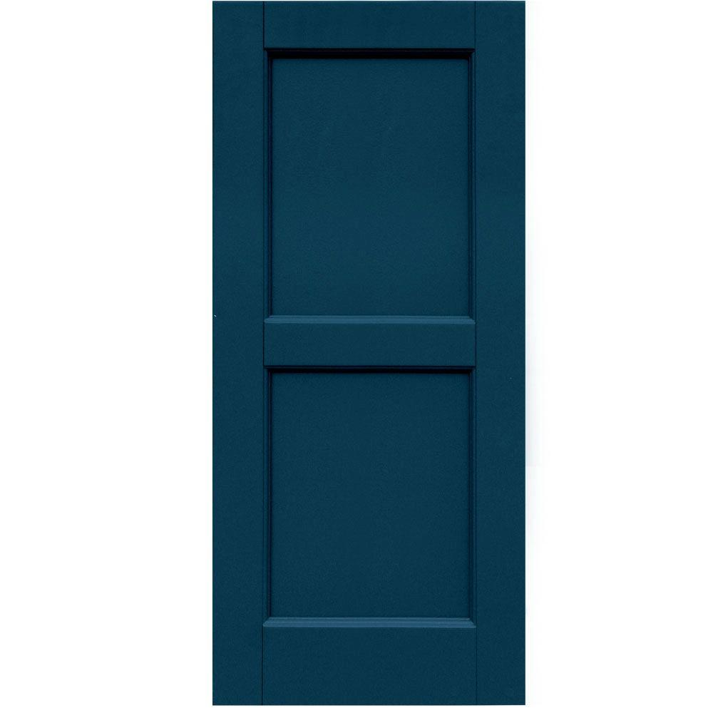 Raised Panel: Winworks Shutters & Hardware Wood Composite 15 in. x 34 in. Contemporary Flat Panel Shutters Pair #637 Deep Sea Blue 61534637