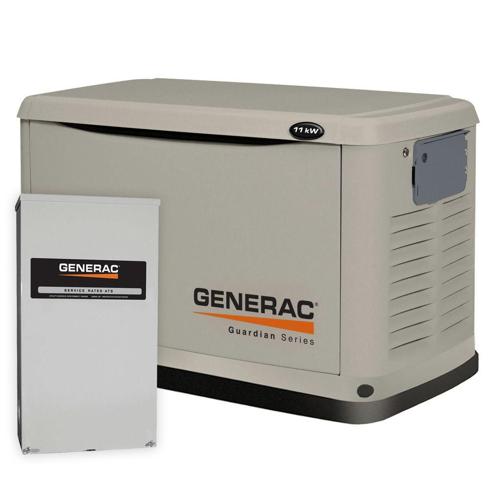 11,000-Watt Air Cooled Automatic Standby Generator with 200 Amp SE Rated Transfer Switch