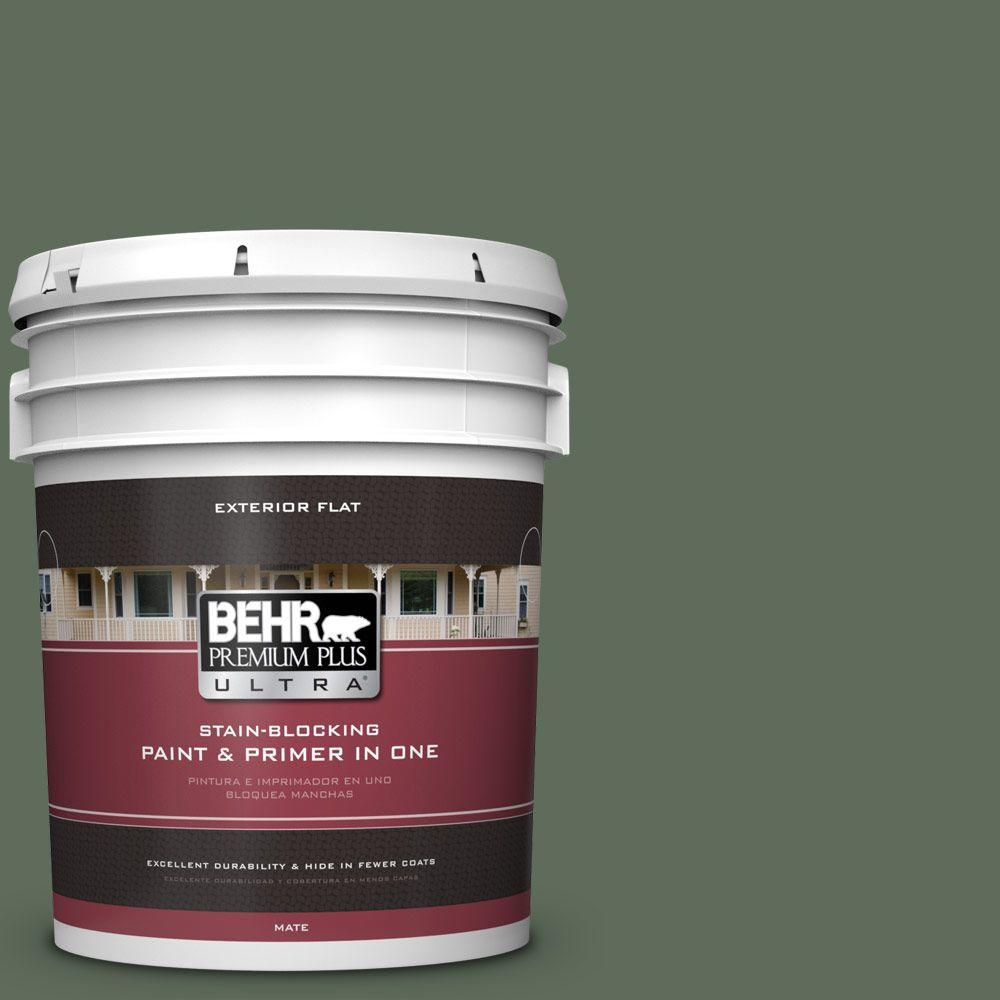 BEHR Premium Plus Ultra 5-gal. #450F-6 Whispering Pine Flat Exterior Paint