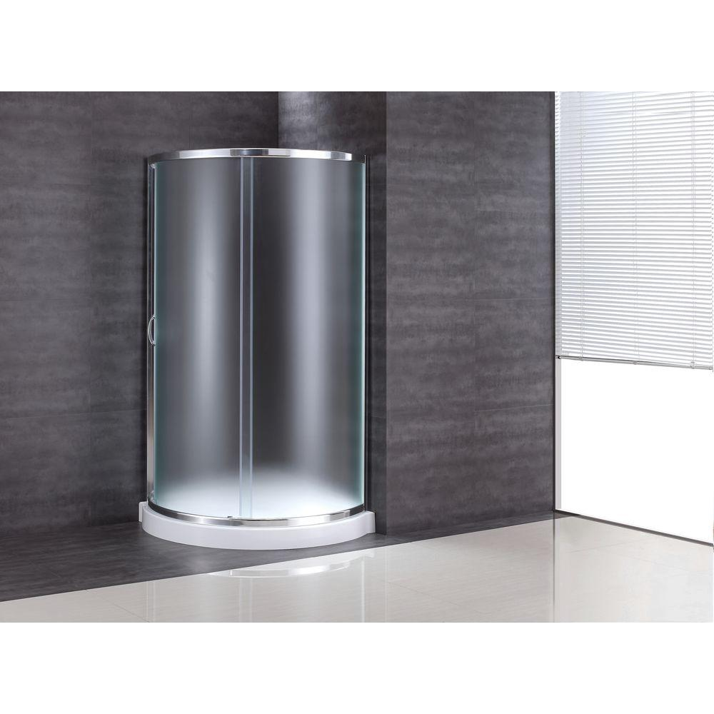 OVE Decors 31 in. x 31 in. x 76 in. Shower Kit with Intimacy Glass, Shower Base in White