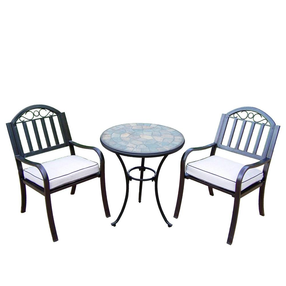 Oakland Living 24 in. Table and Stone Art Rochester 3-Piece Patio