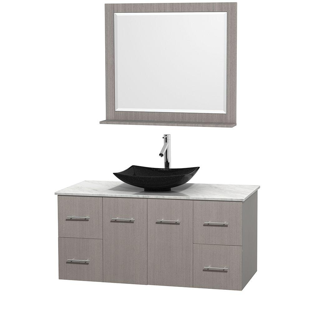 Wyndham Collection Centra 48 in. Vanity in Gray Oak with Marble