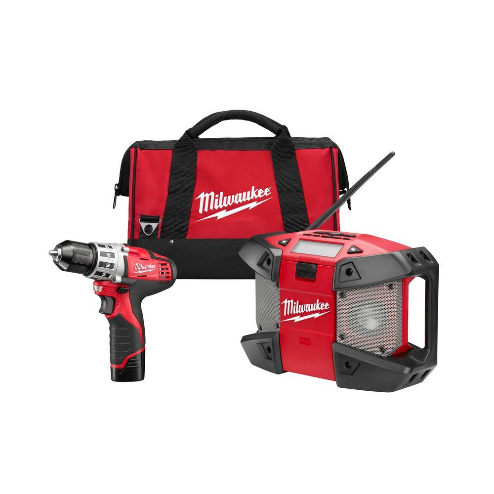 Milwaukee M12 12-Volt Lithium-Ion 3/8 in. Cordless Drill/Radio Combo Kit (2-Tool)