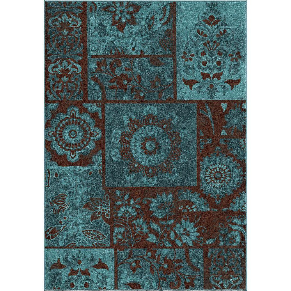 null Ornate Patchwork Blue 6 ft. 7 in. x 9 ft. 8 in. Indoor Area Rug