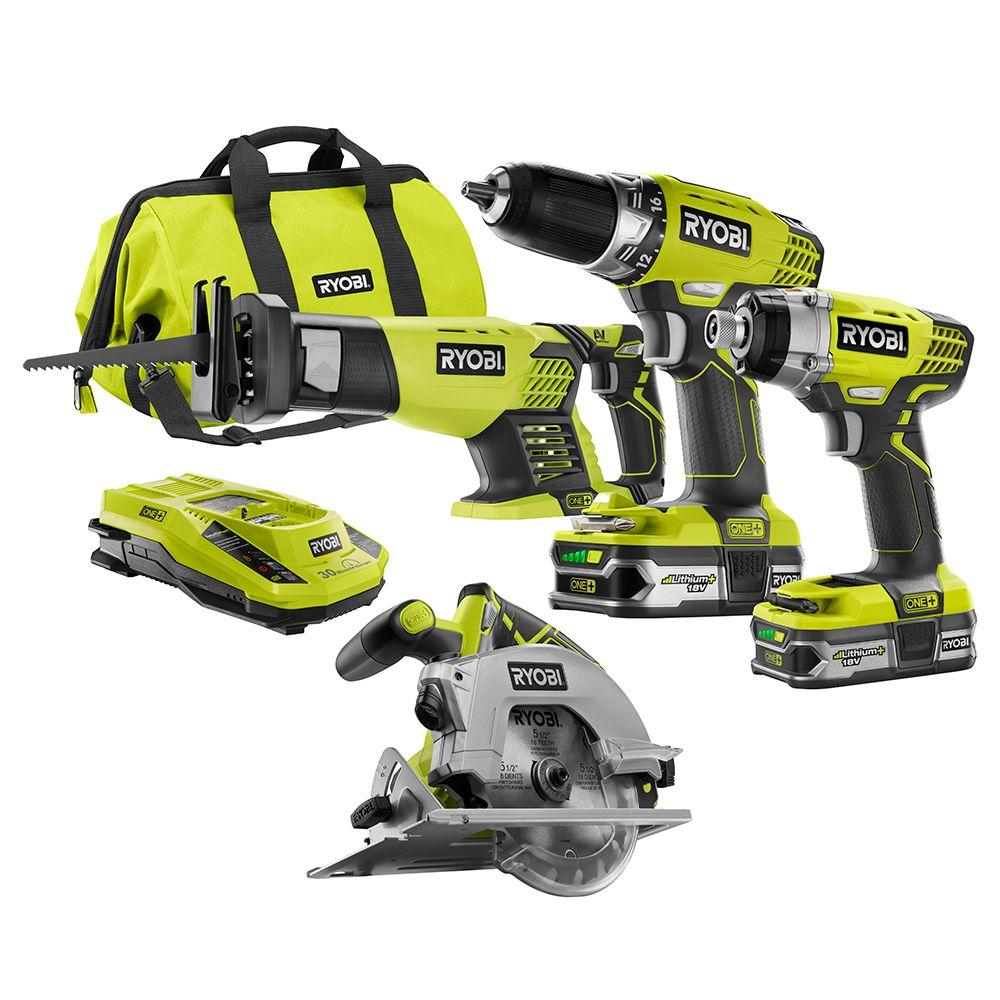 Ryobi Tool Sets One+ 18-Volt Lithium-Ion Cordless Combo Kit (4-Tool) P1875