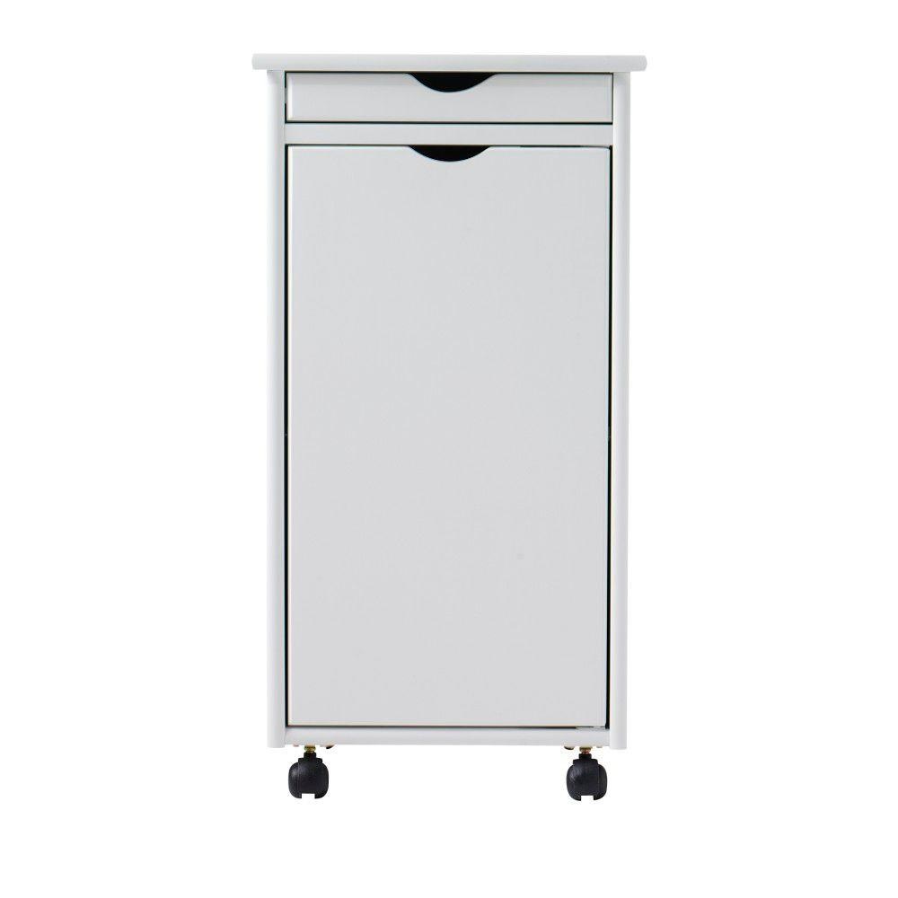 Home Decorators Collection Stanton 15.5 in. White Shallow Drawer with 1-Door Storage Cart